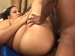 Ebony fatty getting her sex holes screwed