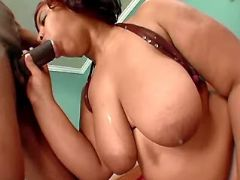 Chubby ebony milf sucks black cock
